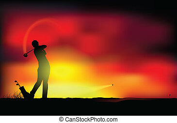 Golf at sunset - Vector illustration of a man playing golf