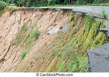 Damaged road from landslide on mountain - Damage road from...