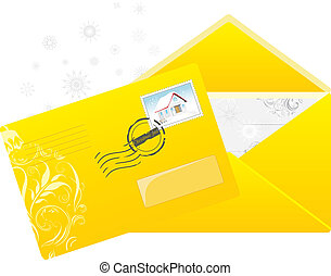 Christmas yellow envelop with post stamp. Vector...