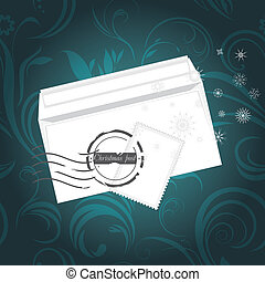Christmas envelop on the ornamental background. Vector...