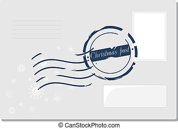 Christmas envelop with post stamp. Vector illustration
