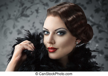 Retro style woman portrait