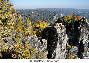 The Saxon Switzerland in autumn - Bizarre rock formations in...