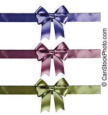Set of ribbon bows - green, pink, violet on white...