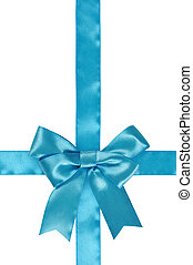 Blue ribbon with bow isolated on white background. Clipping...