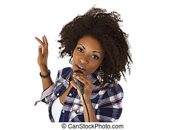 Beautiful african american woman karaoke singer - isolated...