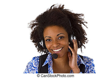 Female customer support operator with headset and smiling -...
