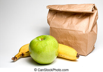 Bag Lunch with Fruit - Bag lunch with a banana and an apple.