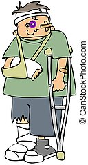 Injured boy - This illustration depicts a boy on crutches...