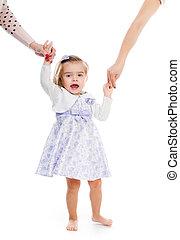 pequeno, menina, segurando, mão