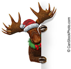 Christmas Moose Blank Sign - Christmas holiday northern...