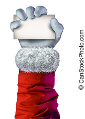 Santa Claus hand holding A Blank Sign
