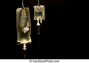 IV Bag - A hanging IV bag in a hospital.