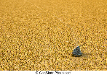 Sailing stones in the Racetrack Playa, Death Valley,...
