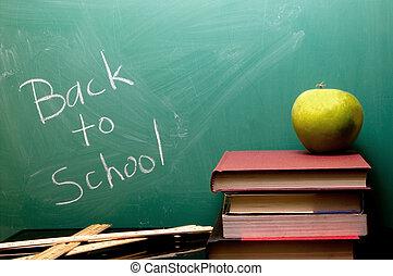 Back to School written on a chalkboard.