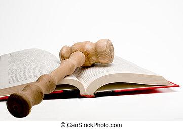 ley, libro, martillo