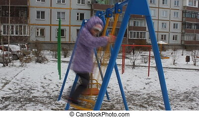 Girl swing in winter 5525