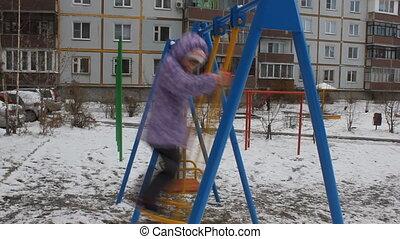 Girl swing in winter 5525