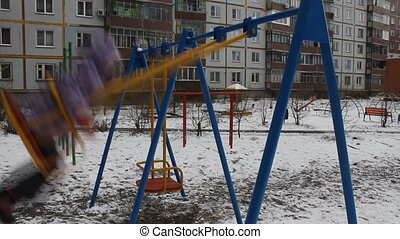 Girl swing in winter 5516