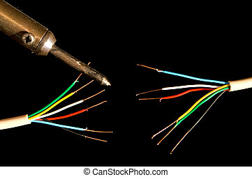 Electrical Wires - Frayed electrical wires and a soldering...