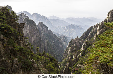 Yellow Mountains in China during fall season - Yellow...