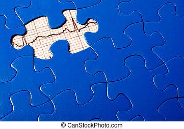 EKG Puzzle - A puzzle with an EKG under a missing piece.