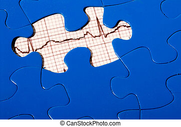 EKG Puzzle - A puzzle with an EKG under a missing piece