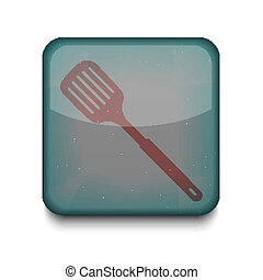 Vector slotted kitchen spoon icon Eps10 Easy to edit