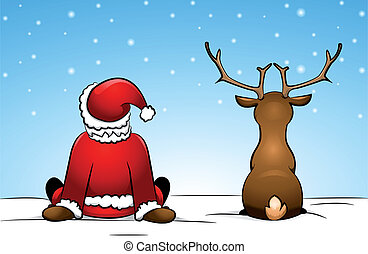 Santa and a reindeer - Santa Claus and a reindeer sitting in...
