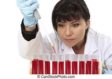 muestra, prueba, tubo, obtención