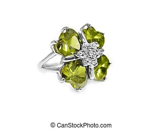 Peridot / gem, diamond ring - Peridot / gem, diamond, and...