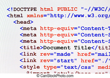 HTML web page code front view - Web page HTML source code...