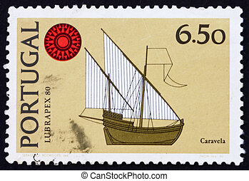 Postage stamp Portugal 1980 Caravel, ship - PORTUGAL - CIRCA...