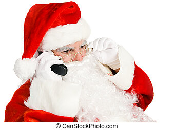 Santa Claus Takes Phone Call - Santa Claus takes telephone...