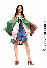 happy shopping girl with lots of shopping bags