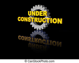 under construction text and gearwheel on black background -...