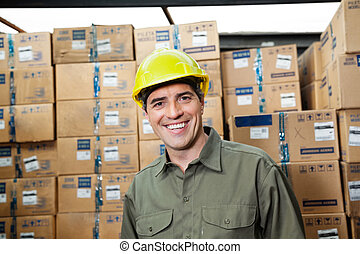 Happy Foreman At Warehouse