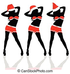 girl with christmas hat vector part three