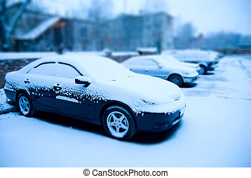 Snow-covered cars in the parking lot