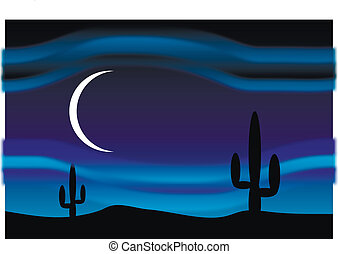 Desert at moonlit night - Desert with cactus plants at...