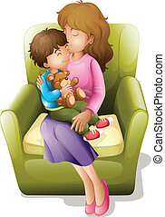 mom and kid - illustration of mom and her kid sitting on a...