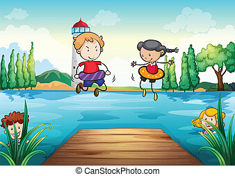 kids swimming in nature - illustration of kids swimming in a...