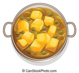 indian food - illustration of indian food on a white...