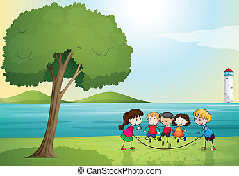 kids playing in nature - illustration of kids playing in a...