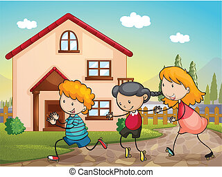 kids playing - illustration of kids playing infront of a...