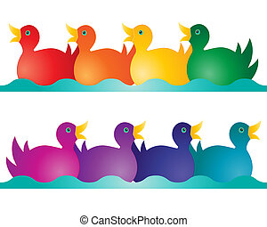 toy ducks - an illustration of two rows of toy ducks in...