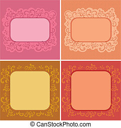 Set abstract floral backgrounds: symbolical flowers and...