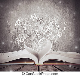Love for book - CZoncept of love for book