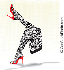 Stockings with cheetah pattern - woman lying on her back in...