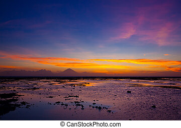 Tropical sunset on the beach Lombok island Indonesia